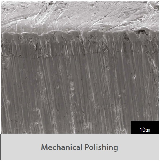 mechanical polishing surface detail at high magnification