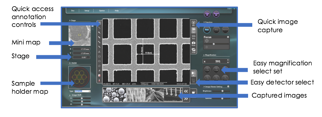 NanoStation Software Interface for EM-30 Tabletop SEM